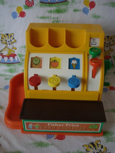 caisse enregistreuse fisher price cash register vintage lanostagiedujouet70. Black Bedroom Furniture Sets. Home Design Ideas